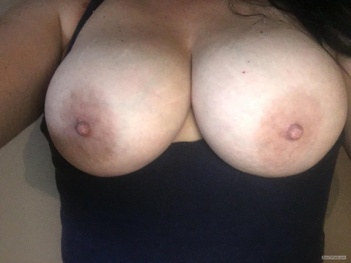 Tit Flash: Wife's Tanlined Big Tits (Selfie) - Topless Shan from United States